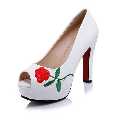 LFNLYX Damen Sandalen Frühling Sommer Herbst Club Schuhe Microfibre Hochzeit Büro & Karriere Kleid Chunky Ferse Blume Schwarz Rot Weiß Red