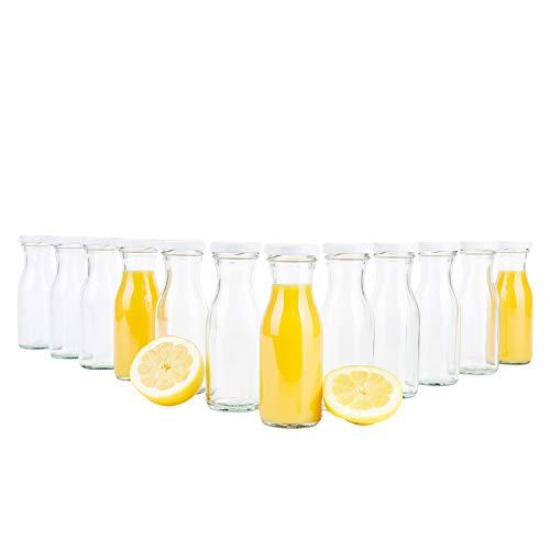 MamboCat 12er Set Saftflasche 150 ml + Twist-Off Deckel TO43 weiß I Karaffe I Deko-Vasen I Vorratsglas klein I Trinkflaschen I Schüttdosen I Aufbewahrungsgläser - Flasche Mit Milch Twist Deckel