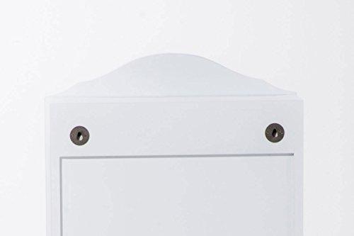 CLP Schmuckschrank SUAREZ mit Spiegel | Spiegelschrank mit Haken für Ketten und Steckplätzen für Ringe Weiß - 7