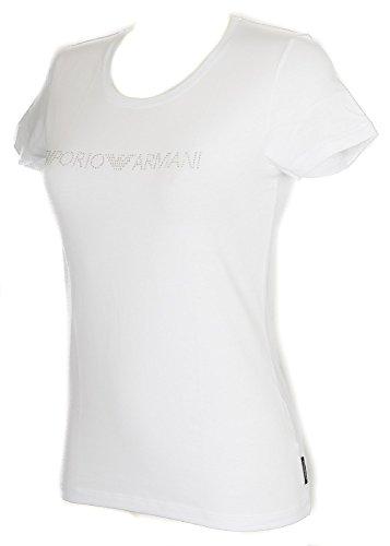 Emporio Armani Damen T-Shirt mit U-Ausschnitt 8P263163139 (M, 00010 White)