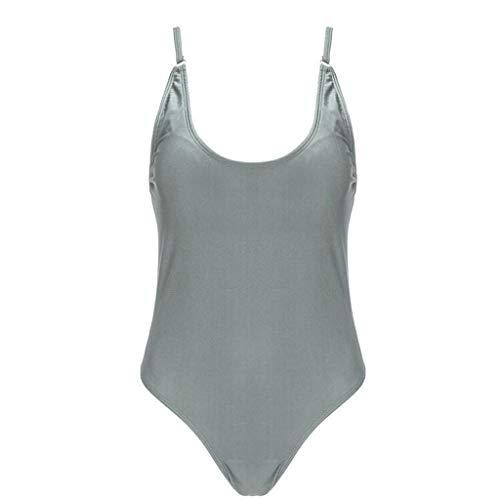 QIMANZI Einteiler Swimsuit Damen Schwimmen Gepolstert Hawaiian Beach Badeanzug Monokini Hochdrücken Bikini EIN StückBadebekleidung Sport Bademode Farbverlauf (Grau,M)