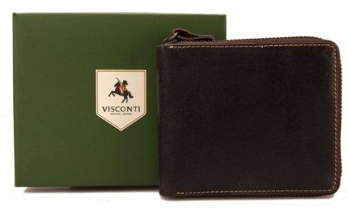 Visconti Hunter Portefeuille zippé pour hommes en cuir vieilli finition huilée marron # 702