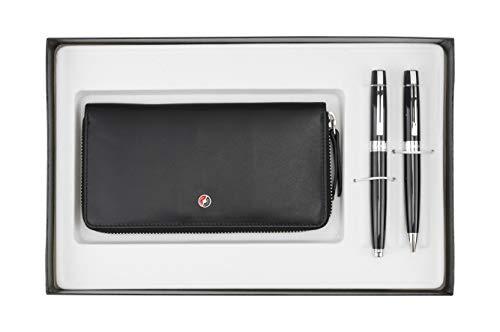 Sheaffer 300 schwarzlack Kugelschreiber und Füllfederhalter M-Feder mit Geldbörse für Damen