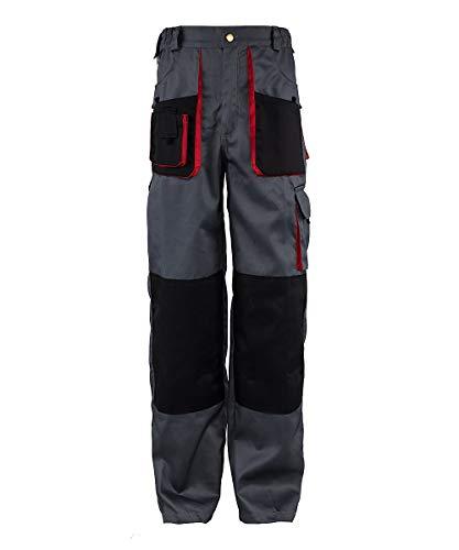 Stenso Torin® - Pantaloni da Lavoro con molteplici Tasche - Grigio/Rosso/Nero - XL