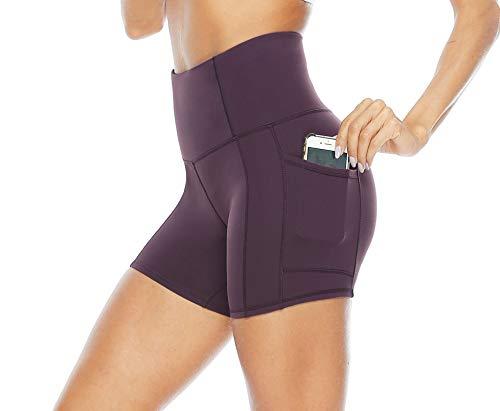 Persit Sporthose Damen Kurz Leggings mit Taschen - Sport Leggins Yogahose Yoga Leggings Olivengrün-XL