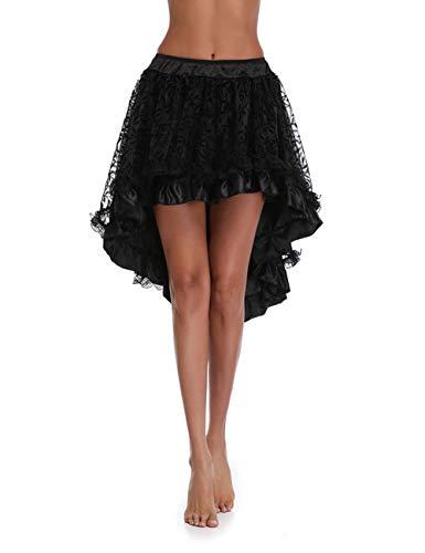 FeelinGirl Damen Schwarz Spitze Punkrock Steampunk Rock Irregulär Kleid Cosplay - Saloon Girl Kostüm