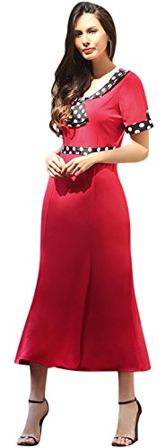Jeansian Femme Mode Cocktail Fashion Retro Robes Women Party Dresses Slim Office Lady Dress WHS351 red