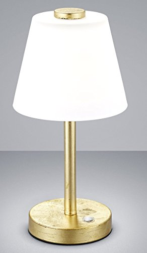 Trio Leuchten Lampe de table métal/abat-jour en verre, intégré, 4W, doré, 15x 15x 29cm