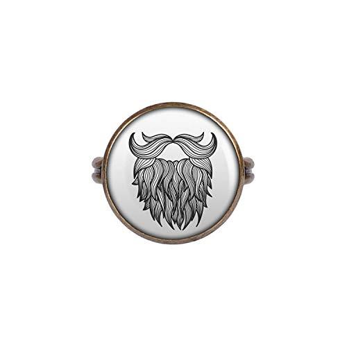 Mylery Ring mit Motiv Bart Mustache Vollbart Tattoo bronze 16mm