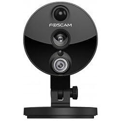 Foscam C2(Italienische Version)–Kamera IP WLAN Full HD 1080p (2.0Megapixel), Nachtsicht 8m, Motion Detection mit PIR-Sensor, E-Mail Alert, microSD Slot, ONVIF, P2P Plug & Play–Schwarz