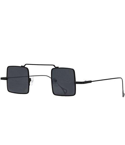 caripe Retro Vintage Sonnenbrille John Lennon Gläser quadratisch verspiegelt + getönt- kvadra5 (schwarz - black getönt)