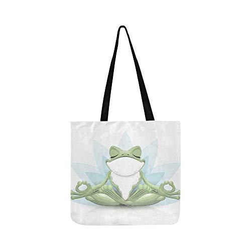 Lustige baum frosch meditation yoga frosch leinwand tote handtasche umhängetasche crossbody taschen geldbörsen für männer und frauen einkaufen tote
