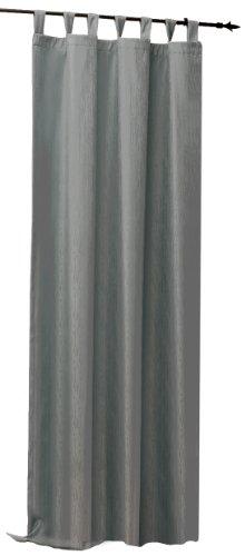 Thermogardine Übergardine blickdicht Vorhang Polar Fleece Gardine Ösen, Kräuselband oder Schlaufen B/H ca. 140x245 cm Farbwahl #373 (Schlaufe grau)