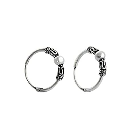 Bali Style Sterling Silver Small Endless Hoop Earrings for Cartilage,