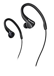 Pioneer E3 Cuffie Sportive In-Ear (IPX2 Splashproof, Over-the-Ear Design Auricolari, cavo dritto (1,2 m) con jack da 3,5 mm, ideale per la corsa e il fitness), nero