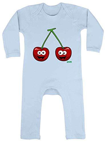HARIZ Baby Strampler Kirschen Lachend Früchte Sommer Plus Geschenkkarten Himmel Hell Blau 3-6 Monate -