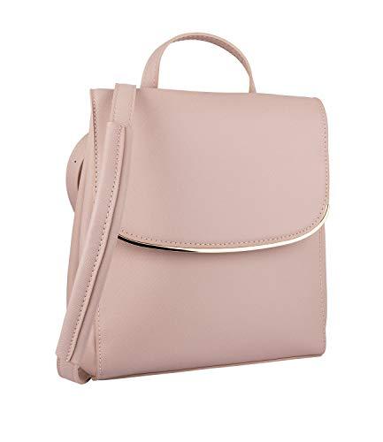 SIX Damen Rucksack, Tasche, Henkel, verstärkte Riemen, Klappe, rosa, Gold ()