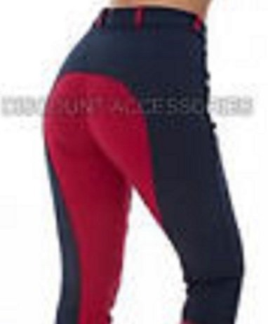 CHILDRENS RIDING JODHPURS BOY/GIRLS CHILD SOFT STRETCHY JODS JODPHURS NAVY WITH RED BY DISCOUNT PET ACCESSORIES