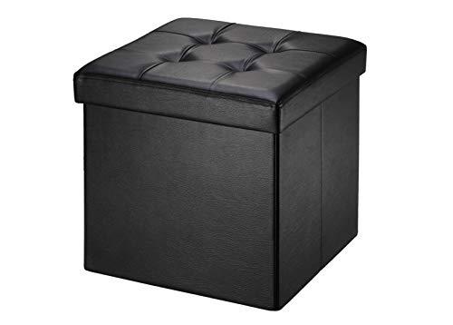 Baúl Puff Taburete para almacenaje 38 x 38 x 38 cm Plegable Carga máxima de 300 kg Caja de almacenaje para almacenaje (plegable, 38 x 38 x 38 cm) negro