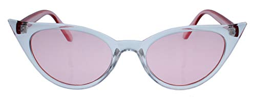 50er Jahre Damen Sonnenbrille oder Vintage Brillengestell mit Klarglas Cat Eye Form Katzenaugen Modell FARBWAHL 73 (Clear/Rosa)