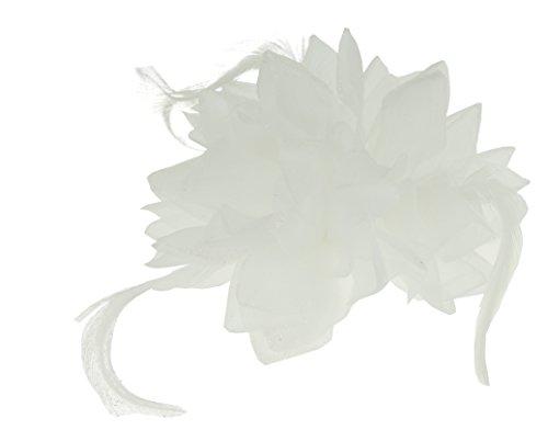 Haar Blume Fascinator Haar Krawatte Clip weiß (Blume Und Feder-haar-clips)