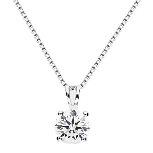 LÖB Damen Halskette 925 Silber mit weißem Strass Steinanhänger 8mm 45cm Kette mit einem Zirkonia Stein Weiß LSIK12