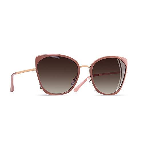 AOFLY Übergroße Metallrahmen Katzenauge Polarisierte Damen Sonnenbrille Gradientenlinse mit UV400 Schutzbrillen für Frauen, Rosa Rahmen / Braun Linse