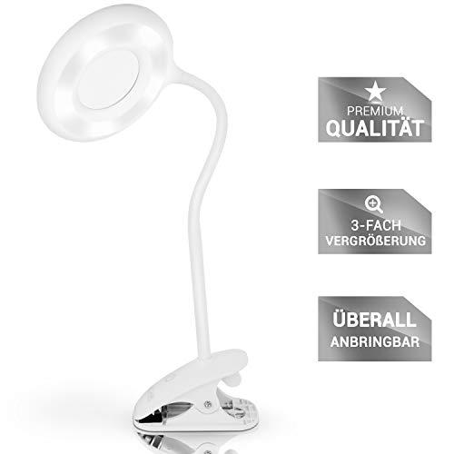 Lacari Lupenleuchte mit 24 LED – Schwenkbares Vergrößerungsglas – Kosmetiklampe, Uhrmacherlupe...