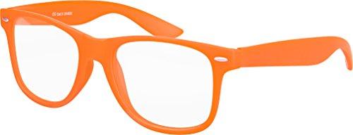 Balinco Hochwertige Nerd Sonnenbrille mit Klarglas matte Rubber Retro Vintage Unisex Brille mit Federscharnier - 17 verschiedene Farben/Modelle wählbar (Orange)