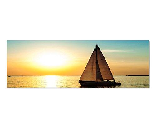 Paul Sinus Art Bilder Wand Bild - Kunstdruck 120x40cm Meer Segelboot Silhouette Sonnenuntergang