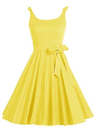 Bbonlinedress Vintage rétro 1950's Audrey Hepburn robe de soirée cocktail année 50 Rockabilly Jaune
