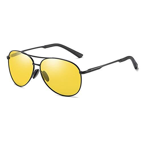 LLQ Polarisierte Sonnenbrillen für Herren, farbige Nachtsichtbrillen, blendfreie Brillen, schwarzer Rahmen, Nachtsichtgerät