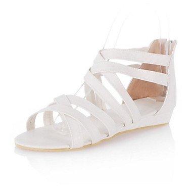 Sanmulyh Femmes Chaussures Pu Printemps Été Confort Nouveauté Plat Talon Sandales Open Toe Zipper Zipper Pour Robe Extérieure Marron Jaune Blanc Noir Blanc