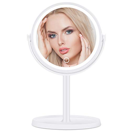 Kinlo specchietto da trucco con luci a led specchi da tavolo specchietto da barba in piedi ricaricabile con lampada da tavolo usb/batteria (bianco)