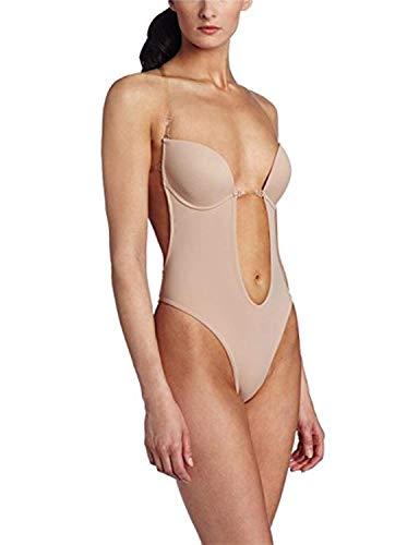 Burvogue Mujeres Sin Espalda Tanga para Mujer de Incisión Deep V Body - Beige -