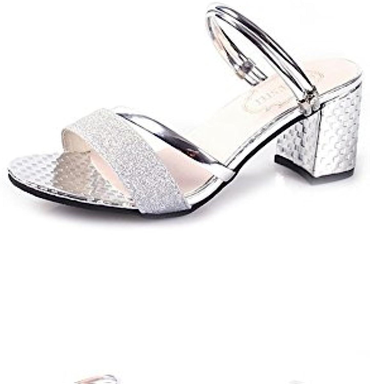 Sandalias de Mujer Verano Elegante Punta Abierta Tacones medianos Zapatos de Mujer Moda Grueso Abajo Verano Sandalias...