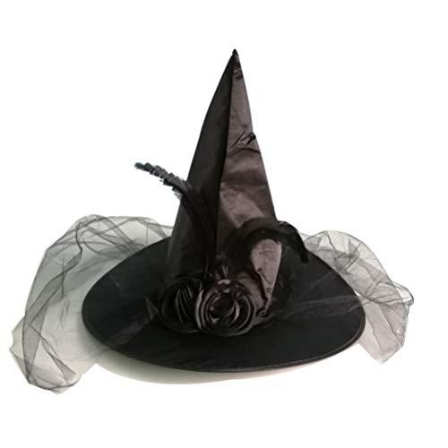 BESTOYARD Hexenhut mit Klett und Feder schwarz für Halloween Damen