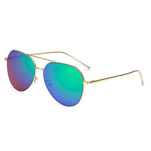 MJDABAOFA Sonnenbrillen,Übergroße Pilot Ovale Sonnenbrille Frauen Männer Gold Frame Grüne Linse Sonnenbrille Aviator Metallrahmen Mirror Fahren Frau Gläser