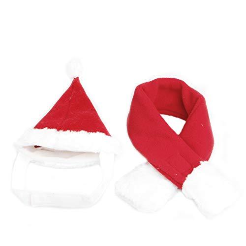 CoralStore Christmas Pet Gatto Cane con Babbo Natale Cappello Sciarpa Set Rosso Vacanza Costume Apparel Lovely