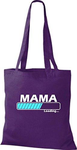 Jute Stoffbeutel Mama Loading viele Farben lila