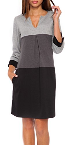 Glamour Empire. Women's Jersey Colour Block Shift Dress with Pockets S-2XL. 303 (Black & Grey, 14)