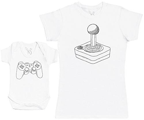 Zarlivia Clothing Retro & Modern Players - Ensemble Mère Bébé Cadeau - Femme T Shirt & bébé Bodys - Blanc - M & 12-18 Mois