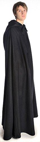 HEMAD Mittelalter Umhang mit Kapuze Wollfilz schwarz, braun, beige, rot, blau (One Size, schwarz) - 4