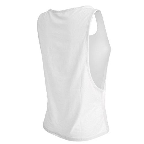 Maillot T-shirt Sans Manches Femmes Sport Entraînement Physique Gilet de Yoga Jogging Blanc
