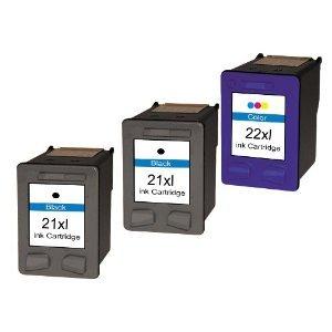 3 x Druckerpatronen Refill Ersatz für Hp 2x 21 XL+ 1x 22 XL Tinte black 20ml + color 20ml refill Ersatz für HP C9351A / C9351CE + Hp C9352A / C9352CE (hp21xl , hp22xl hp 21xl ,hp 22xl), schwarz, farbig,