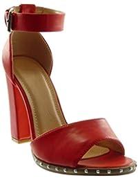 Angkorly - Scarpe Moda Sandali Scarpe Decollete con Cinturino alla Caviglia  Donna Borchiati Tanga Tacco a 8390e52a376