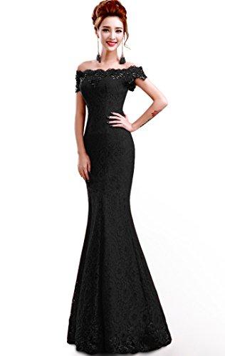 Babyonline® Damen Kleider festliche elegant Brautjungfer Abendkleid Hochzeit Cocktailkleid Spitze Faltenrock langes kleid 36,schwarz -