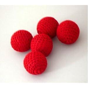 Doowops 2pcs Crochet Ball (Dia 2.5cm, Red, 1 Magnetic + 1 Normal) Accesorio para Copas y Bolas y Chop Cup Magic Tricks Gimmick Props