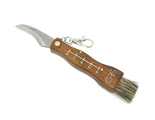 Coltello funghi con spazzola, pennello a serramanico, approvato della polizia, con righello in acciaio inossidabile (coltello per funghi come coltello pieghevole con lama ricurva).