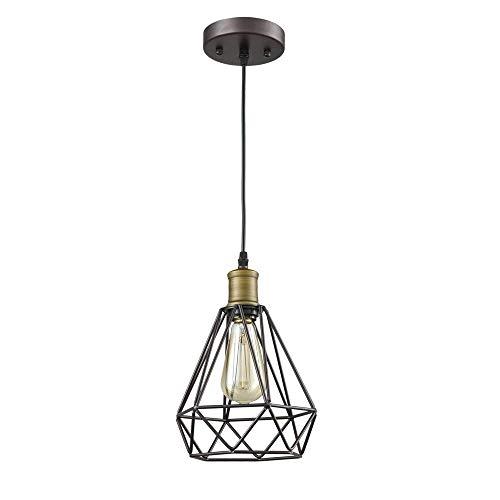 EASTYY Eisen Kronleuchter Beleuchtung Vintage Pendelleuchte Öl eingerieben Bronze Polygon Kuppelleuchte Draht Hängeleuchte Art-Deco-Deckenleuchte Schwarz (Birne Nicht im Lieferumfang enthalten) -